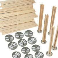 20 Groups Wooden Cross Safe DIY Making Core Candle Wick With Metal Base Natural