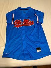 Nike Ole Miss Powder Blue Baseball Jersey Large