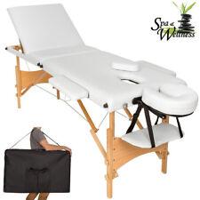 Lettino Massaggi Portatile in Legno 3 Zone Fisioterapia Estetista SPA Bianco