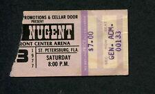 Original 1977 Ted Nugent Concert Ticket Stub St. Petersburg Cat Scratch Fever