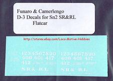 Funaro F&C D-3 SR&RL Sandy River Rangeley Lakes DECALS Flatcar S Sn2 Sn3 Rangely