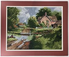 """River Crossing Elsa Williams 06417 Finished Needlepoint Picture 18x22"""" Fishing"""
