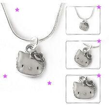 Halskette Katze Kette Schlangenkette versilbert Kinderschmuck Mädchen Damen Neu