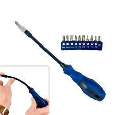 "Flex Shaft Screwdriver Set 1/4"" Adaptor 10 Magnetic Bits Flexible Screw Driver"