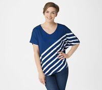 Elizabeth & Clarke Striped Tunic with Asymmetric Hem+StainTech (Blue, M) A353168