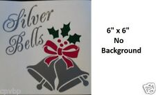 Silver Bells Christmas Decal Sticker for Glass Block Shadow Box