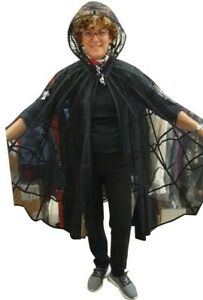 SS20 MOSCHINO COUTURE JEREMY SCOTT SPIDER WEB TULLE CAPE IN BLACK HALLOWEEN
