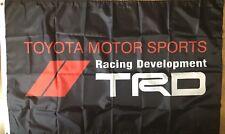TRD Flag 3x5 Toyota Racing Development Banner  Motor Sports Car Garage Black