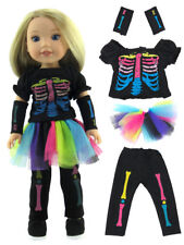 "Neon Skeleton Skirt Costume Fits 14.5""  Wellie Wisher American Girl Clothes"
