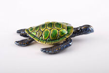 GreenTurtle Faberge trinket box hand made by Keren Kopal w/ Austrian crystal