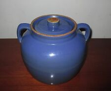 Vtg Blue Stoneware Pottery Biscuit Cookie Jar Bean Pot Covered Dish Bowl Crock