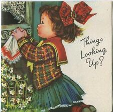 VINTAGE CUTE GIRL SCOTTISH CLOTHES GARDEN WINDOW CHILDREN PLAYING CHEER UP CARD