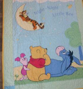 """Winnie Pooh Tigger Eeyore Piglet Child Baby Quilt 35""""x42""""  Homemade Cotton"""