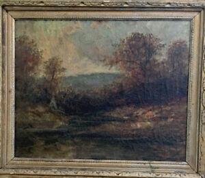 Catskill Mountain Scene With Teepee Manner of Ralph Blakelock