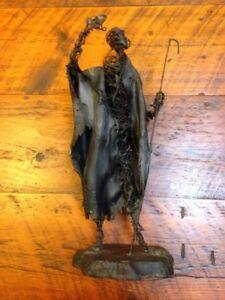 Vtg Outsider Apocalyptic Man Black Fiberglass Metal Wire Armature Sculpture 18""