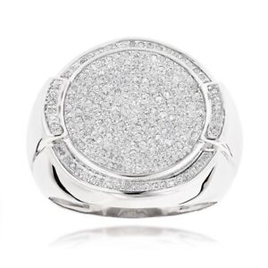 Men's 1.80 Ct Diamond Round Pave Engagement Pinky Ring Band 14K White Gold Over