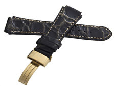Aqua Master Mens 20mm x 20mm Patent Leather Gold Buckle Watch Band Strap