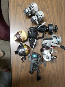 Lot of old spin and open face reels Zebco SportFisher Ted Williams Daiwa Garcia