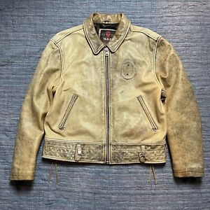 Vintage WRD CHEVIGNON DISTRESSED MOTORCYCLE LEATHER JACKET See Pics
