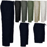 Mens Zip Off Shorts 3 IN 1 Trousers Combat Cargo Work Elasticated Pants Bottoms
