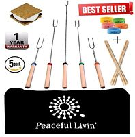 Retractable Marshmellow Roasting Sticks for Smores CampFire - HotDog BBQ Skewers