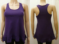 NEW LOOK size 8 - purple frill asymmetric sleeveless top - muscle back tunic