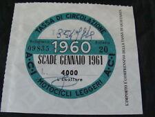 BOLLO 1960 ACI TASSA CIRCOLAZIONE MOTOCICLI LEGGERI LAMBRETTA VESPA BIANCHI