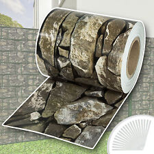 Garden fence screening privacy shade 35 m roll panel cover mesh stone pattern