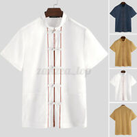 Men's Cotton Shirt Top Frog Button Mandarin Collar Short Sleeve Kung Fu Shirts