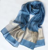 "100% Silk Satin Art Scarf,Super Long(25""X70"") Handmade Hemmed blue"