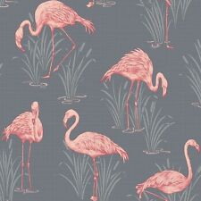 Lagoon Coral Grey Flamingo Wallpaper by Arthouse Vintage 252603