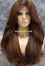 Free Part Human Hair Blend Lace Front Full Wig Long Layered Brown Blonde Mix NWT