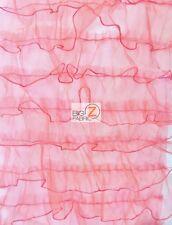 """BRIDAL WAVY RUFFLE ORGANZA FABRIC - Red - 54""""  WIDTH SOLD BY YARD DRESS DECOR"""