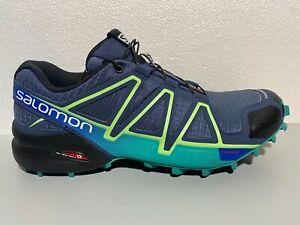 SALOMON SPEEDCROSS 4 Women's  Running/Hiking Shoes Slate Blue/Green Size 8