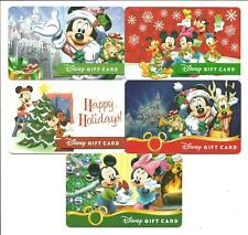 Lot (5) Disney Gift Cards No $ Value Collectible Christmas Holiday Mickey Mouse