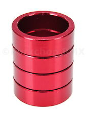 """Bicycle MINI BMX ROAD MTB headset spacers 1"""" threadless (SET of 4) 10mm - RED"""