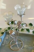 Wedding Frosted Glass Rose Tea Light Holder Centrepiece Candle White/Gold Deco