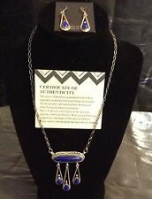 Rare Sterling Silver w/Lapis Stone Necklace & Earring Set ~ Bob Eubanks New