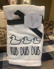 Rae Dunn by Magenta - Set of 2 Hand Towels - White - Rub Dub Dub - Ducks