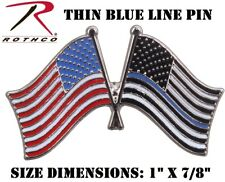 Police Thin Blue Line US Flag Pin Label Pin Support Law Enforcement Rothco 1966