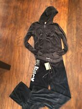 NWT Juicy Couture Gray Velour Flower Logo Tracksuit Set Hoodie Pants- S M-$264