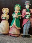 3 Vintage Lighted Flat Back Plastic Blow Mold Christmas Carolers Mom Dad Girl