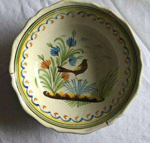 Saladier Faience Nevers Auxerrois Décor d'oiseau fin XVIIIe - Début XIXe