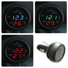 3in1 Car Cigarette Lighter USB Charger Digital LED Display Voltmeter Thermometer