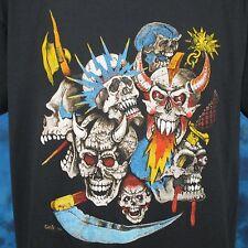 vintage 80s MEDIEVAL SKULL PAPER THIN T-Shirt LARGE punk rock biker skeleton nos