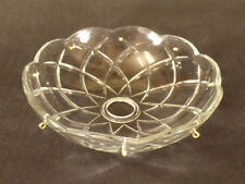 "NEW 6"" Pressed Glass Round Lamp Prism Chandelier Bobeche w/ 8 Brass Pins #BB903"