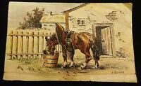 ri5883:Zeichnung/Skizze Pferd, wohl August Rieger 1886-1942,mit Widmung auf RS.