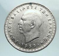 1959 GREECE King PAUL I w Coat of Arms Genuine Antique 10 Drachmai Coin i80159