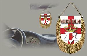 NORTHERN IRELAND REAR VIEW MIRROR WORLD FLAG CAR BANNER PENNANT