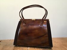 "VINTAGE 1960'S BROWN PATENT LEATHER KELLY HANDBAG   9"" X 7""  X 4"""